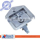 Heavy Duty Truck or Trailer Flush Mount Polished Stainless Steel Key-Locking Recessed T Handle Tool Box Door Lock