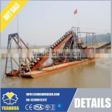 Bucket chain dredger with trommel dredging for gold