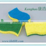 Factory directly sell natural cellulose sponge with fiber cloth heavy duty remover for kitchen cleaning