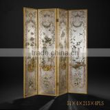 Elegant Gilt Wooden Floor Screen, Gold Painted Flower & Bird Four Panel Folding Screen, Curio Classic Furniture Decor Screen
