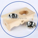 wholesale stainless steel pet feeder cheap wooden dog bowl