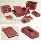 Desk top leather set for office,writing leather set (Silver Plating),PW-13