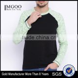 Men Black Sea Green Round Neck Train T-Shirt Self-Design Waist Length Long Raglan Sleeves Outfit Custom Cotton Polyester