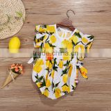 Wholesale Yellow Lemon Carters Baby Toddlers Romper Clothing Ruffle Frock Romper