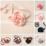 Factory Fancy Hair Sweet Flower Baby Hair Headband For Kids With Ribbon Rose Bowknot For Young Girls