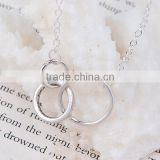 New Fashion Circle Ring Link Cable Chain Antique Silver New Fashion Black Wax Cord Silver Tone Choker Necklace