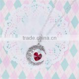 New Fashion Necklace Textured Link Cable Chain Antique Silver Glass Wine Red Heart Moon Pendant Face Carved 67.0cm long