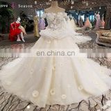 LS00251 off shoulder lace ball gown toyal train beading factory direct princess wedding dresses istanbul