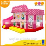 2016 AOQI newest design free EN14960 certificate royal family pink inflatable jumping house combo with slide