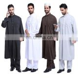 Muslim mens plain thawb Islam man clothing long sleeve Thobe men's Kaftan Turkish clothes