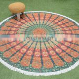 Indian Roundie Cotton Throw Yoga Mat Round Table Cloth Picnic Beach Blanket Round Tapestry Table Cover