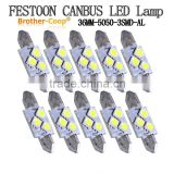 white canbus Al body Festoon C5W 36mm 3SMD 5050 Car sidelight,reading light, roof dome led