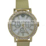 SNT-0027 fashion gold alloy watch with crystal stones and reticulate hand, high quality quartz watch
