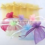 Organza Candy Bags Wedding Organza Gift Bags with Tassel cheap 7x9cm In Stock Drawstring Customized Logo Rose Printed Organza Sm