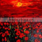 Bright beautiful flowers royal garden sun will be setting handmade classic decoration oil painting in canvas