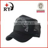 2014 wholesale alibaba new fashion mesh fabric 5 panel with gun diamond trucker baseball cap