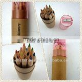 mini 3.5inch half size 12 pcs natural wooden color pencils in tube box with pencil sharpener