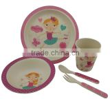 biodegradable bamboo fibre children plate bowl cup spoon and fork ,eco kids dinner set