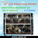 Bus Touch LCD Monitor Android LCD Advertising Player 19'' With 4:3 Display and 1280*1024 Resolution