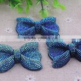 Handmade charming resin rhinestone bow shaped beads for kids necklace jewelry!