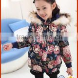 2015 new korea style flower print long with big hoodies children's winter jackets girl coat winter suits for girls
