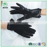 Women fashion decorative black suede gloves with leather palm