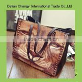 Ladies cool Tiger face printing PU shoulder bags with studded rivet