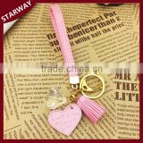 Promotion Fashion charms keyring leather tassel keychain/