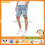 OEM Service Embroidered Design Light Wash Denim Jeans Shorts Short Trousers For Men Wholesale