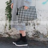 Tartan clutch bag,Women clutch bag Clutch Bag,Zipper bags,Black ,White Clutch bag ,Distressed Hand bag