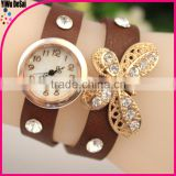 New fashion crystal leather watch wrapped two circles rivets quartz watches for women