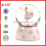 Polyresin pink ballet dancing girl water ball for home decor