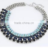 Latest American and European Fashion Exquisite Resin Oval Alloy 925 sterling silver statement necklace in Stock