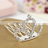 Hot Wholesale Bridal Wedding Crystal Rhinestone Crown Heart Crown Silver Plated Women Children Tiaras Hair Comb Headband