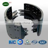 Tractor trailer axle brake shoe with brake lining for drum brake semi trailer truck axle