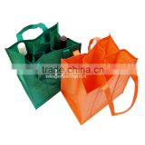 custom 6 pack non woven bag, 6 bottle wine bag with dividers, wholesale non woven bag gift bag