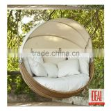 Hanging Outdoor Swing Lounge/Wicker Egg Swing Chair for Sale/Round Rattan Outdoor Bed Outdoor
