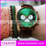Limited edition luxury green face mechanical chronograph watch with genuine leather strap