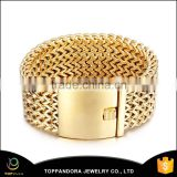 2016 factory direct price top sell promotional gold wide stainless steel mesh bracelet for men