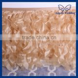 SK004A Fitted decorative ruffled curly willow gold table skirts for weddings