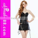 Professional printed hot sale black leather strapless cheap short corset dresses