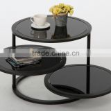 3 Black Round Glass Coffee Table Metal Base