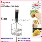 BT0211 Double Layer TPR Handle Potato Press With Wire Head Stainless Steel Handle Potato Ricer Whith Hook Fruit Press