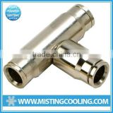 E0394 high pressure push-in Tee connector brass with nickel plated for connecting nylon tubing and stainless steel tubing