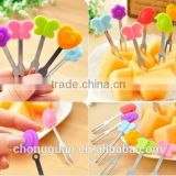 High quality Halloween party candy colors stainless steel silicone fruit forks,stainless spoon and fork set