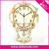 Factory Creative Cute Rose Bear Silent Watch Resin Crafts Clock Fashion Pocket Wall Clock