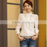 2014 Women Crochet Blouse Lace Chiffon Shirt Women Clothing Basic Shirt