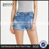 Bleach Wash Ripped Denim Shorts Skinny stretch Zipper Fly Casual Rock Denim Pants Summer Women Shorts