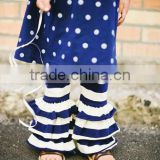 2014 new kids knitted cotton striped leggings wholesale cheap ruffles navy blue pants long trousers for children girls
