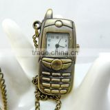 free shipping!!! 60*22mm cartoon mobile phone pendant pocket watch @ mixed Antique Bronze Mechanical Locket Watch pocket
